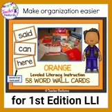 ORANGE Leveled Literacy Intervention LLI Word Wall Cards (1st Edition)