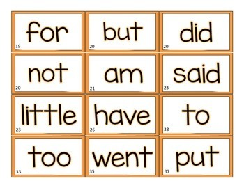 ORANGE Leveled Literacy Intervention LLI Word Wall Cards (1st Edition)