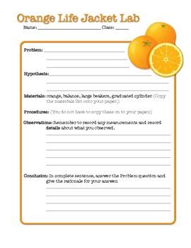 Orange Life-Jacket Lab / Density-Volume-Mass