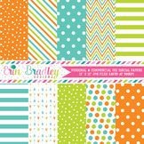 Orange Lime Green and Blue Digital Paper Pack