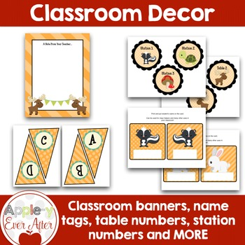 Orange MOOSE and Forest Animal Theme Classroom Decor-OVER 110 PAGES OF ESSENTIAL