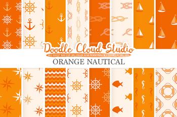 Orange Nautical digital paper, Seal patterns, Ocean Steering wheel, Fishes