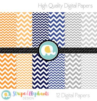 Orange, Navy and Grey Chevron Digital Papers