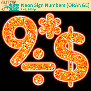 Orange Neon Sign Numbers Clip Art | Glitter Classroom Decor & Resources for Math