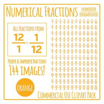 Orange Numerical Fractions - Numerator and Denominator Commercial Use Clip Art