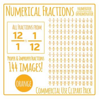 Orange Numerical Fractions - Numerator and Denominator Com
