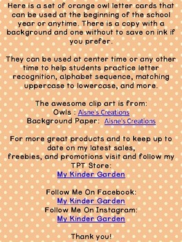 Orange Owl Alphabet Letter Flashcards