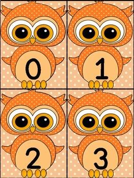 Orange Owl Math Number Flashcards 0-100