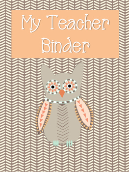 Orange Owl Themed Teacher Binder