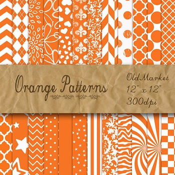 Orange Pattern Designs - Digital Paper Pack - 24 Different Papers - 12 x 12