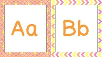 Orange, Pink, and Yellow Print Alphabet