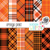 Orange Plaid Digital Paper - great for fall or Halloween classroom decor!