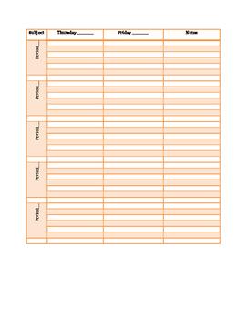 Orange Plan Book Pages