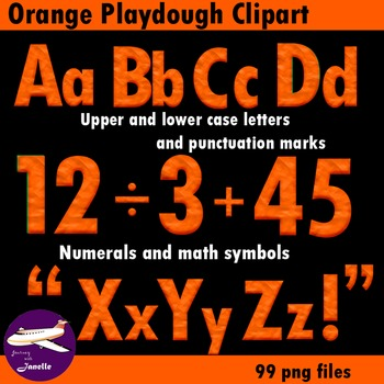 Orange Playdough Look Alphabet Clip Art for your bulletin board and more