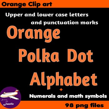 Orange Polka Dot Alphabet Clip Art + Numerals, Punctuation