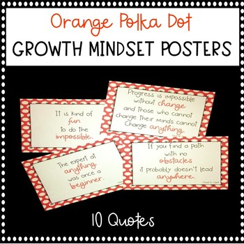 Orange Polka Dot Growth Mindset Posters