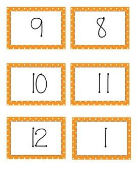 Orange Polka Dot Number Labels 1-12