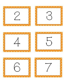 Orange Polka Dot Number Labels 1-12