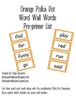Orange Polka Dot Word Wall Words Pre-primer
