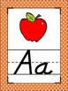 Orange Polka Dots Themed Alphabet Posters Handwriting DNealian anchor