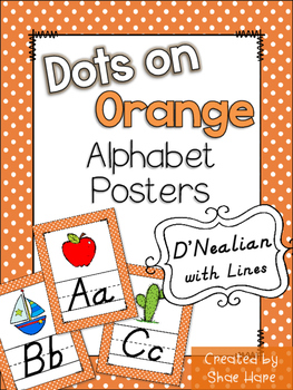 Orange Polka Dots Themed Alphabet Posters Handwriting DNea