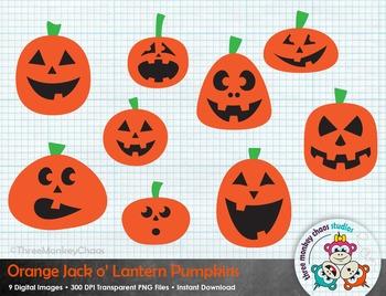 Orange Pumpkin Clipart | Jack-o-Lantern | Halloween Clip art