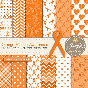 Orange Ribbon Awareness Digital papers and clipart SET