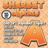 Orange Sherbet Alphabet Alpha Clip Art