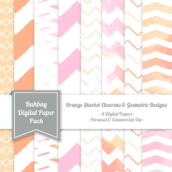 Orange Sherbet Digital Paper Pack - 12x12 - High Resolution .JP