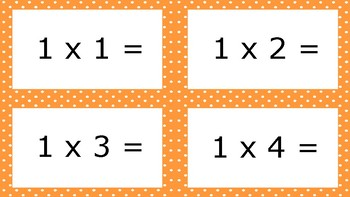 Orange Spotty Times Tables Flash Cards