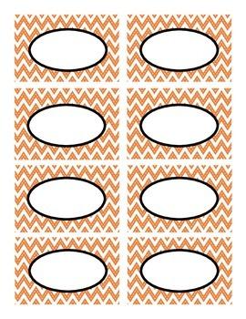 Orange Stitched Chevron with Black Classroom Decor Labels