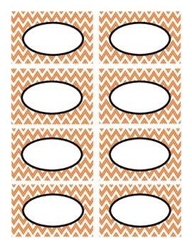 Orange Stitched Chevron with Black Classroom Decor Labels