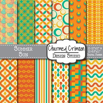 Orange, Teal, and Gold Retro Digital Paper 1219