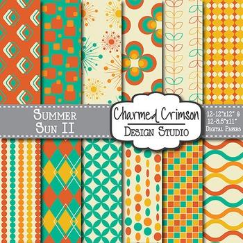 Orange, Teal, and Gold Retro Digital Paper 1220
