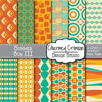 Orange, Teal, and Gold Retro Digital Paper 1221
