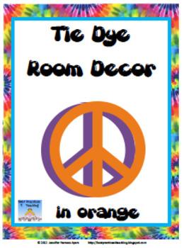 Orange Tie Dye Classroom Display Set (Modern D'Nealian Style)