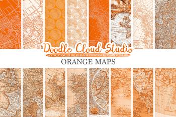 Orange Vintage Maps digital paper, Old Maps, Modern Maps, Historical Maps