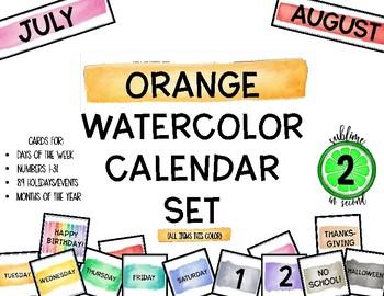 Orange Watercolor Calendar Set