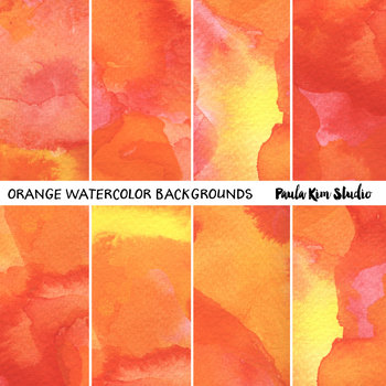 Orange Watercolor Digital Paper Backgrounds