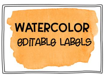 Orange Watercolor Editable Labels