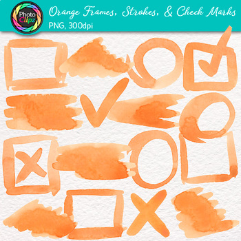 Orange Watercolor Frames, Strokes, & Check Marks Clip Art {Page Elements}