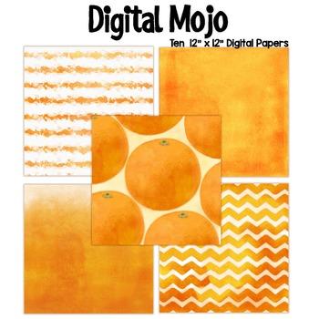 Orange Watercolor Grunge Digital Papers (Orange fruit inspired)
