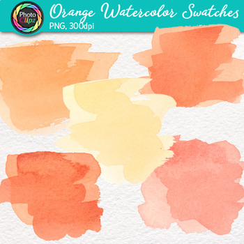 Orange Watercolor Swatches Clip Art {Hand-Painted Textures for Backgrounds}