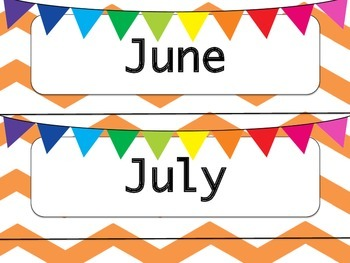 Orange & White Chevron Calendar Months