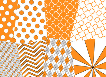 Orange & White Digital Papers (University of Tennessee Team Colors)