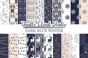 Dark Blue Navy, Cream & Grey Winter digital paper, Christmas Holiday patterns