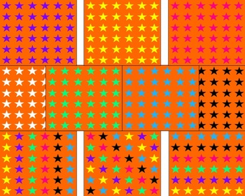 Orange With Colorful Stars Backgrounds