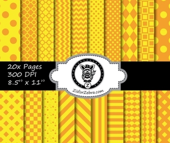 Orange Yellow Multi pattern paper pack - commercial use ok.