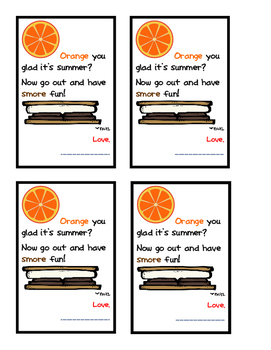 Orange You Glad It's Summer Treat Bag Tags