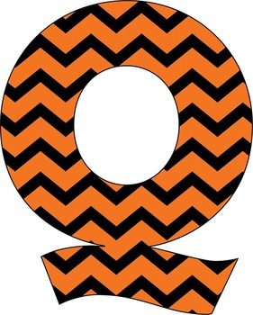 "Orange Black Halloween Chevrons Letters –  4"" High – 300 DPI PNG and PDFs"